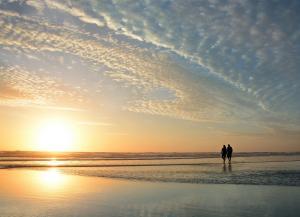 elderly couple walking on beach in florida